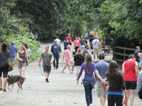 Dogs and their owners mingle in a 40-acre off-leash area.