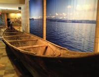 Wooden canoes are on display at the Hibulb Cultural Center.