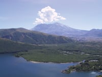 A picnic spot overlooks Coldwater Lake and Mount St. Helens.