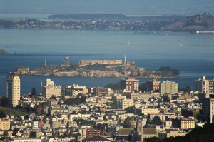 San Francisco's hills provide great views of Alcatraz.