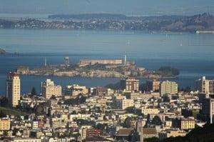 San Francisco's hills provide great views of Alcatraz.