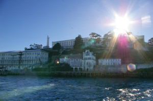 This sight greets tourists arriving for a morning tour of Alcatraz.