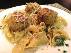 Chicken Meatballs with Garlic Parmesan Noodles