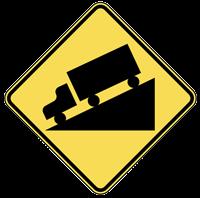 grade road sign