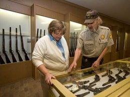 Park Ranger and Guest at Edwards Weapons Museum