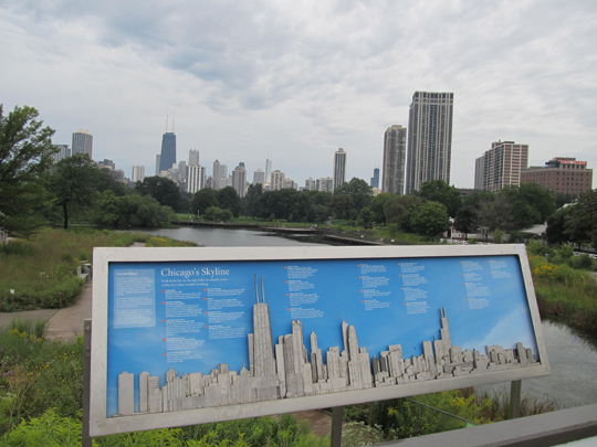 Chicago Skyline as seen from the nature boardwalk at Lincoln Park Zoo.