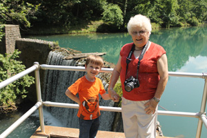 Timothy and his Great-Granny at the Dam Forming Mirror Lake