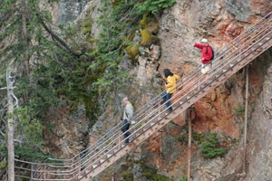Stairs Attached to Cliff Opposite Brink of Lower Yellowstone Falls