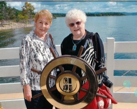 Charlene Payton and Arline Chandler board Showboat Branson Belle