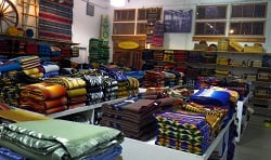 Completed blankets at Pendleton Mills.