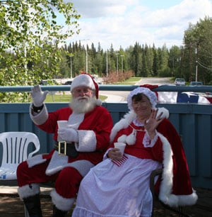 Santa and Mrs. Claus at July 4th Parade, North Pole