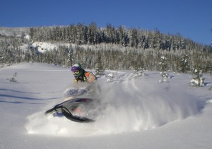 RVs provide a great base camp for snowmobiling,