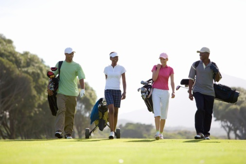 Walking golfers