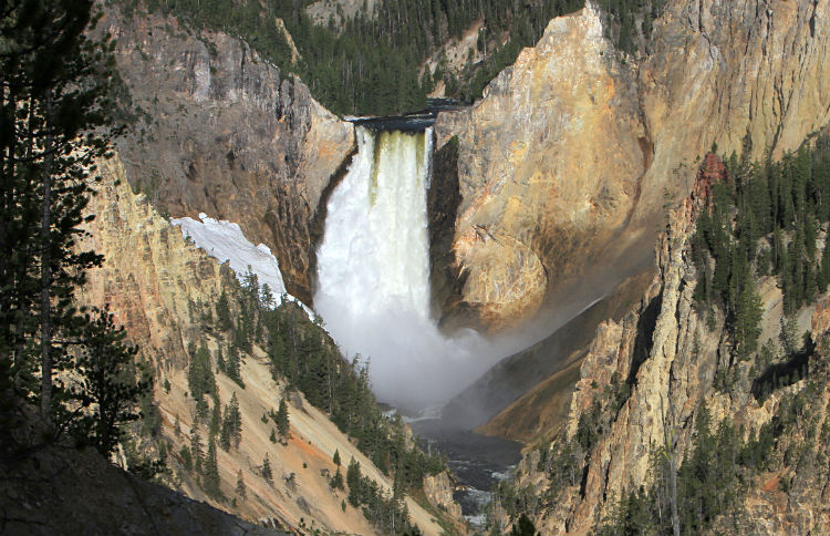 The thundering and majestic Lower Falls in Yellowstone National Park.