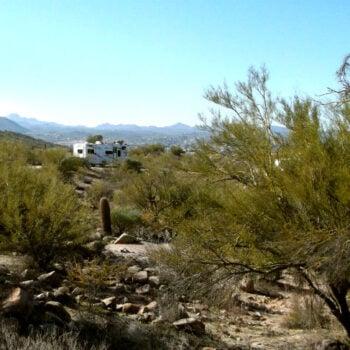 desert dry camping dust