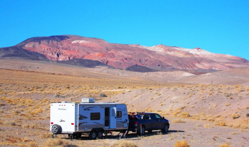 truck and travel trailer in the desert