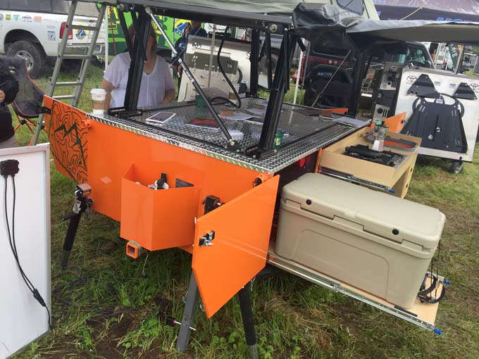 pop-up overlanding tent trailer with kitchen