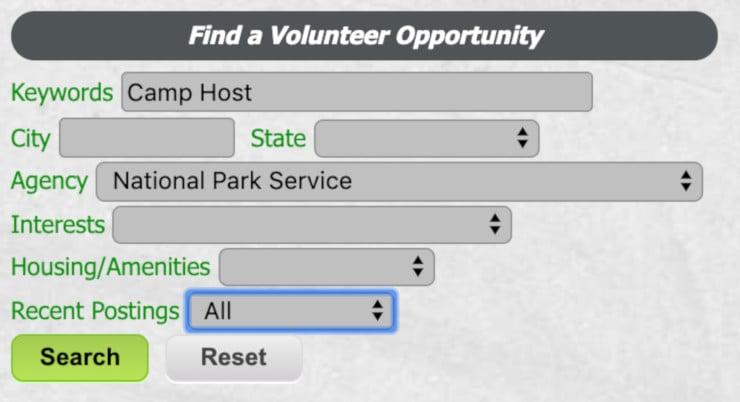 how to get a national park camp host job