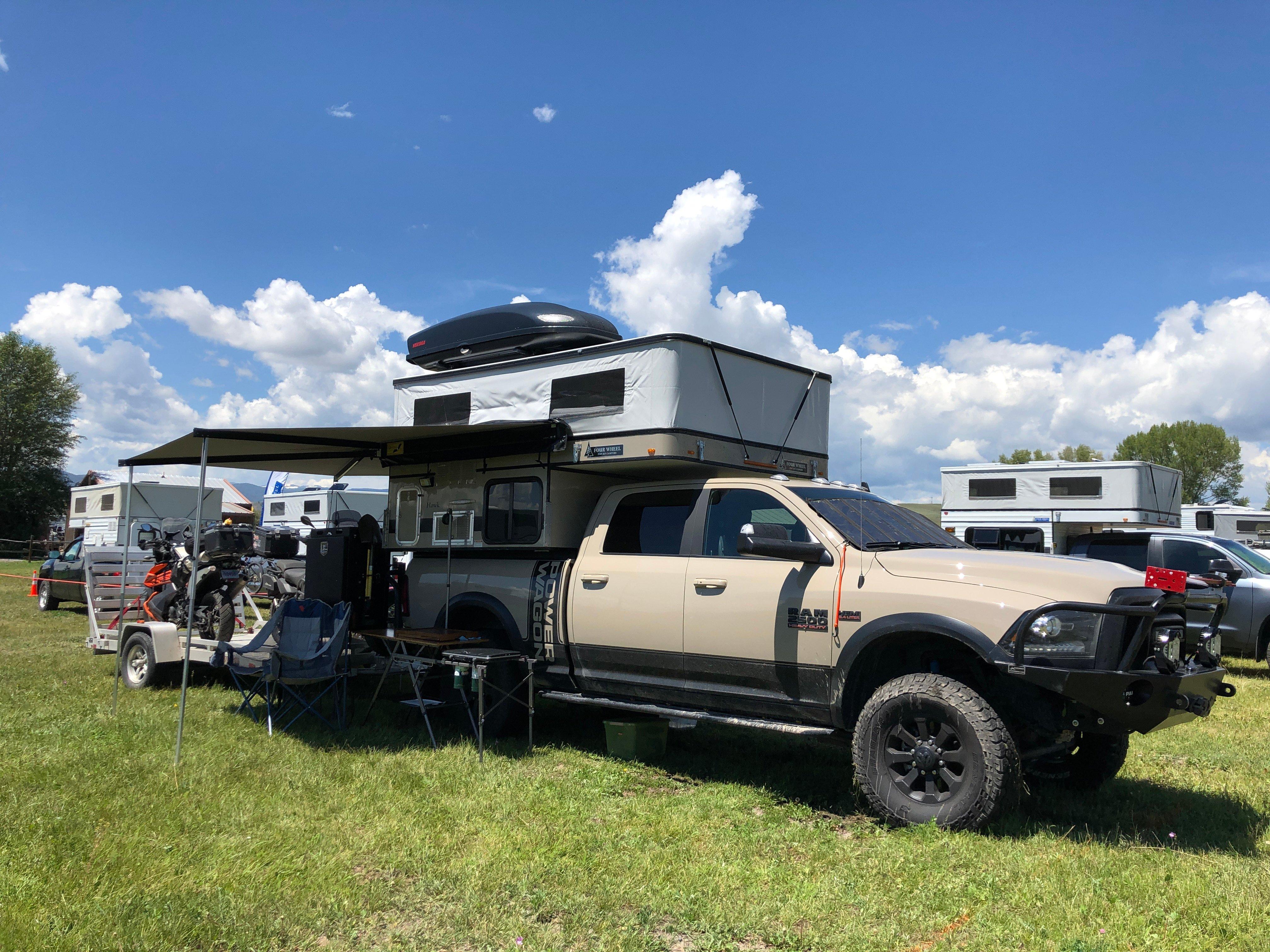 overlanding rooftop tent, truck and trailer