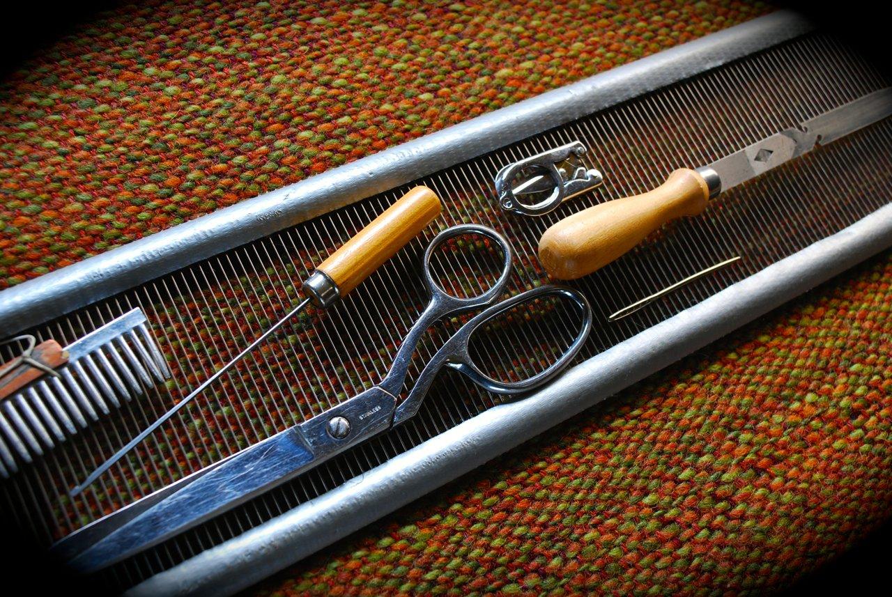Weaving tools of Solo Full-time RVing Artist Weaver Eloise