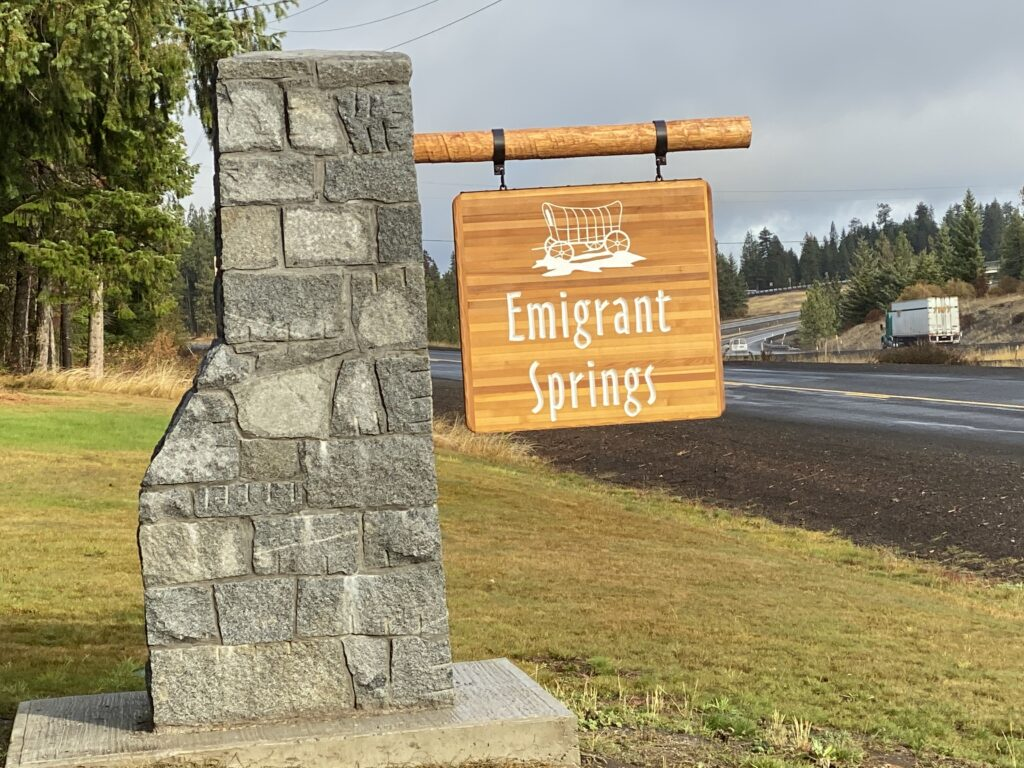 on journey to buy a new RV we camped at Emigrant Springs Campground sign