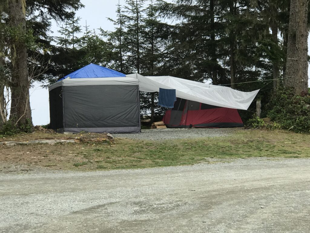 Tarps over a campsite