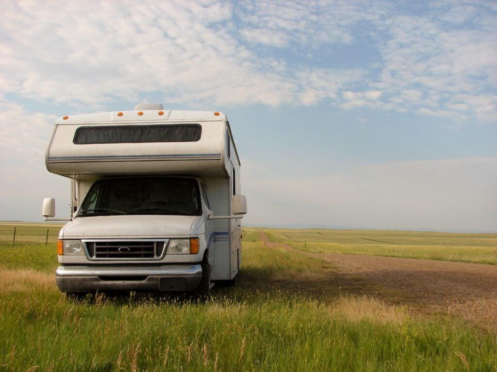 RV dry camping in field