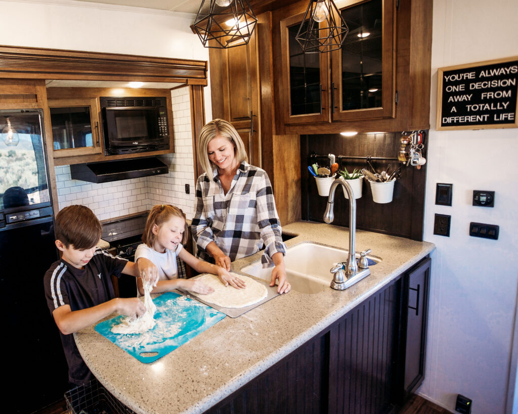 "RV kitchens can be as nice as your home. Most call this ""glamping"""