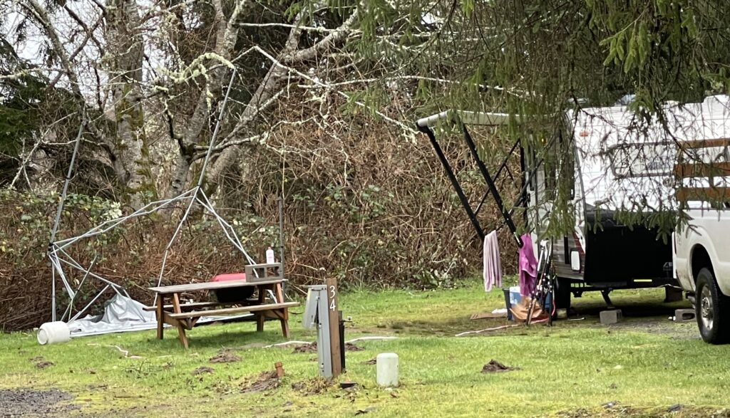 Dangers of portable shelters with mangled top and sharp metal legs