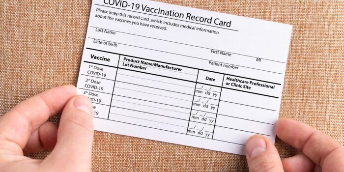 COVID 19 proof of vaccination card