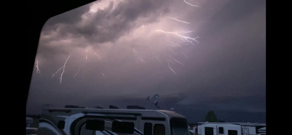 lightning over an RV Park