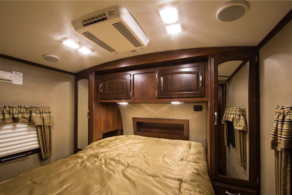LED lights in an RV bedroom - RV accessories