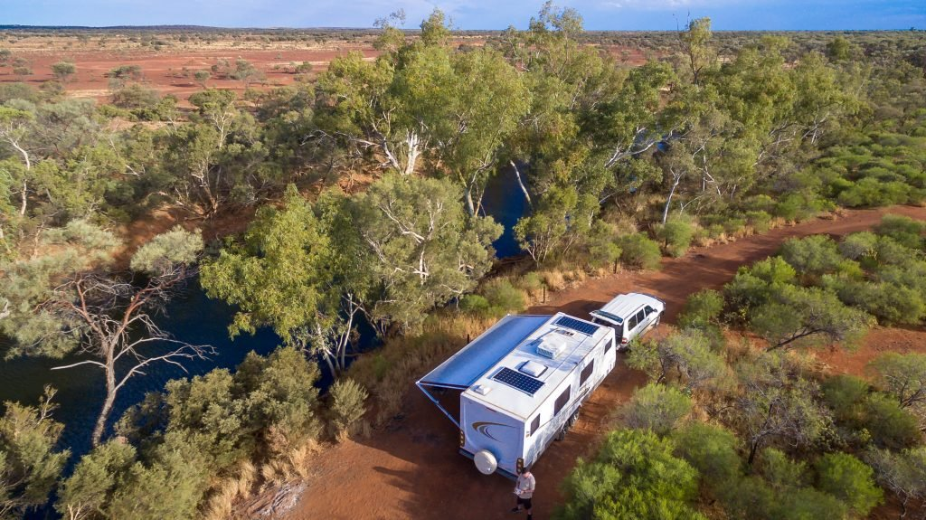 aerial view of an RV camping off the grid