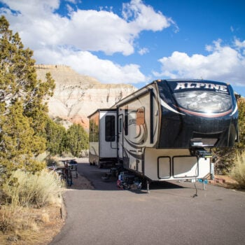 fifth wheel RV camping in Colorado at state park