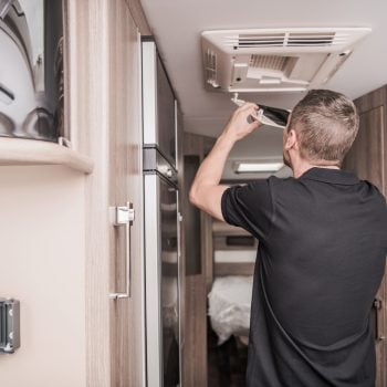 RV maintenance being performed