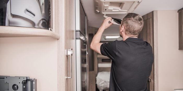 RV maintenance being performed