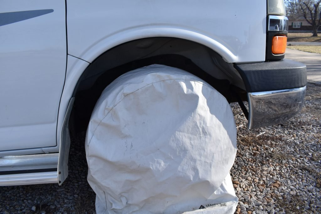 RV tires covered for storage