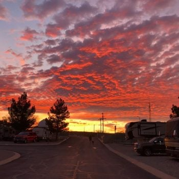 sunset at Butterfield RV resort