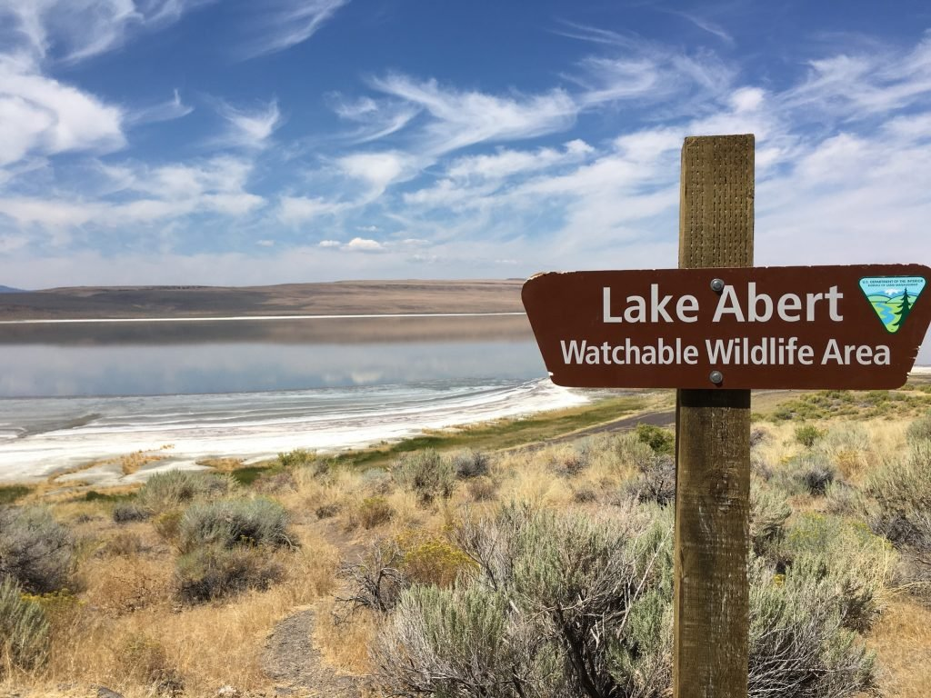 scenic RV destination - scene of Lake Abert in Southern Oregon
