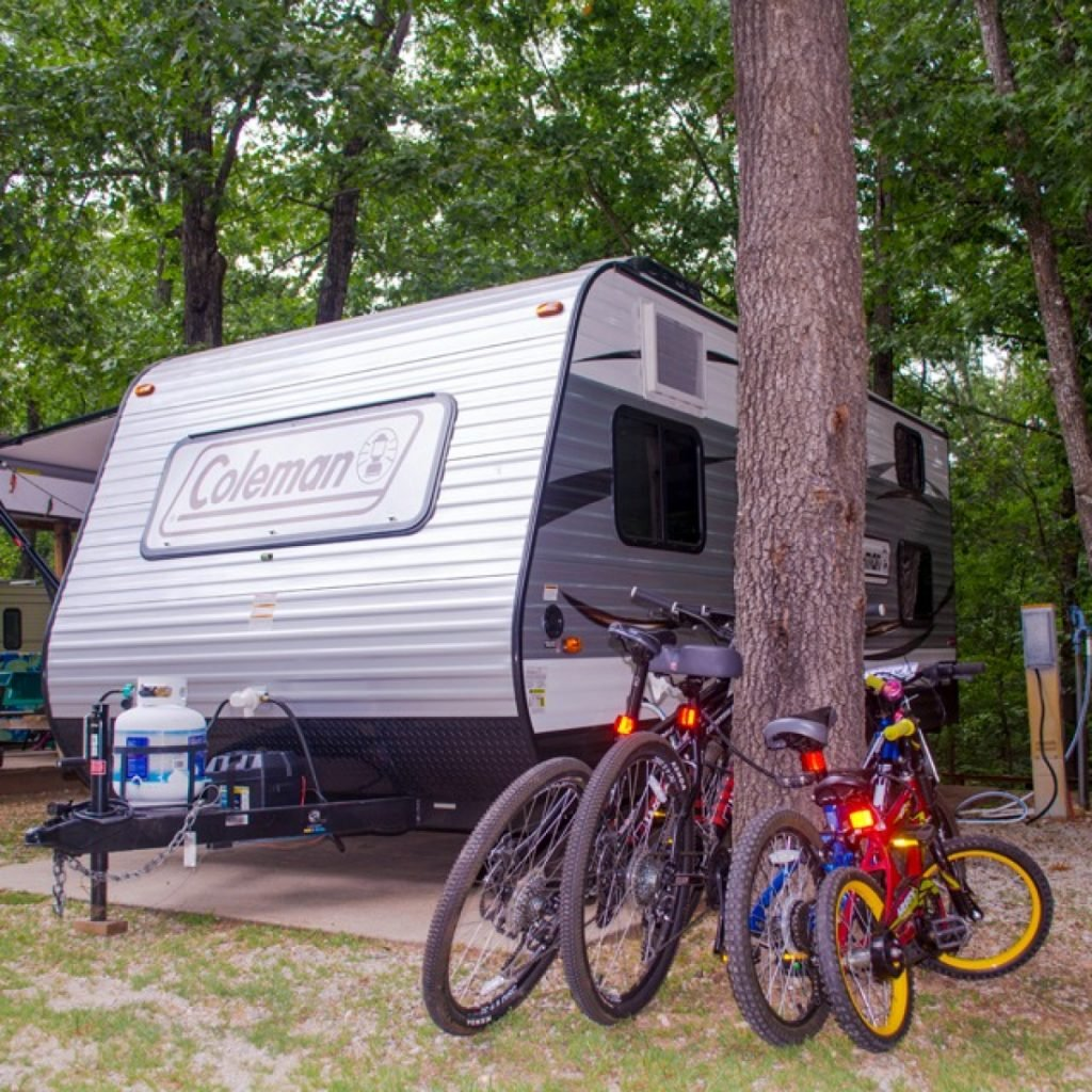 trailer and bikes at campsite