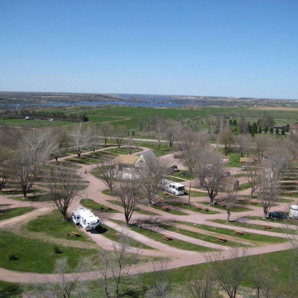 aerial view of south dakota rv park - mitchell KOA