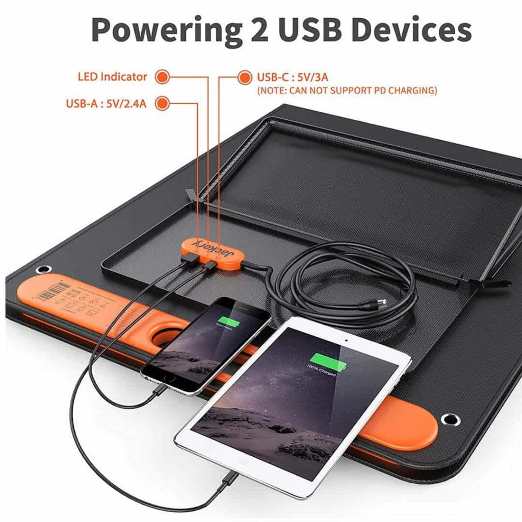 Each SolarSaga panel can charge two devices and feed power to the solar generator - Photo: Jackery
