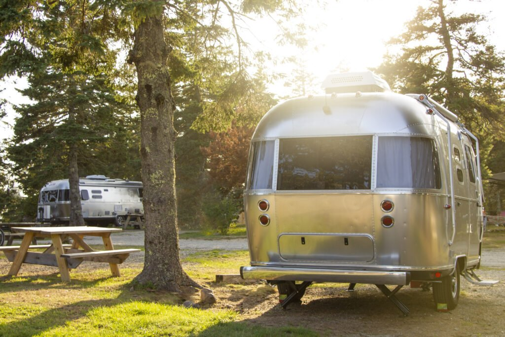 Airstream trailer in campsite