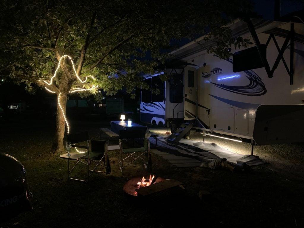 RV at nighttime at Singing Hills RV Park