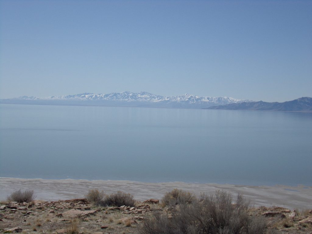 View of the Great Salt Lake from shore.