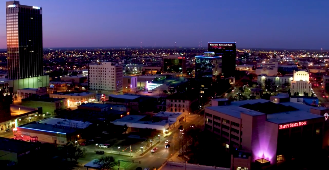 Downtown Amarillo, Texas after sunset.
