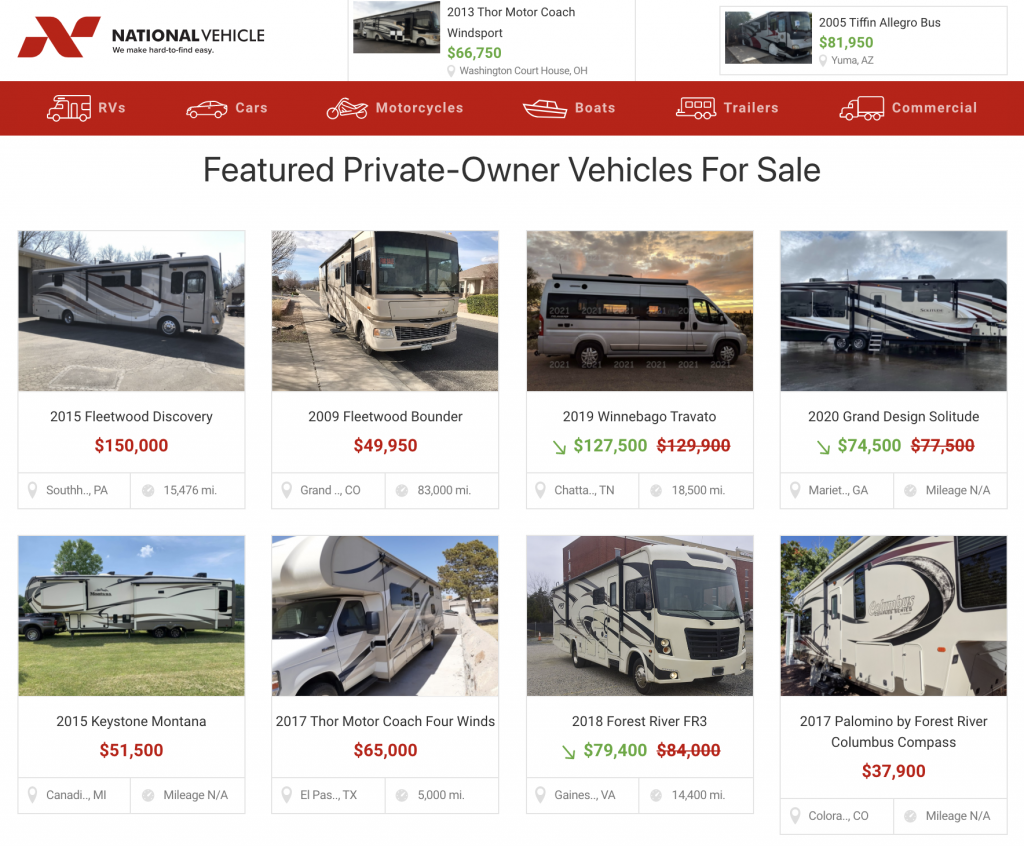 Sell your RV with National Vehicle