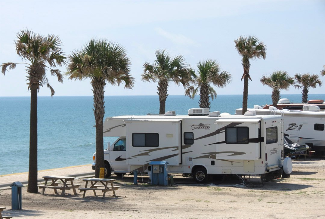 Large RV on the beach in Florida