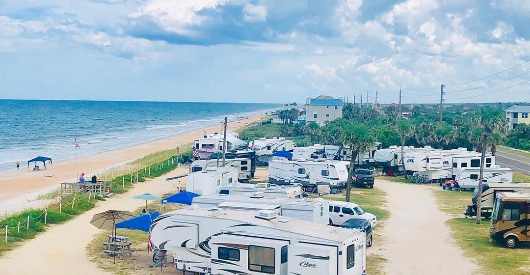 RVs and beachside campground in Florida