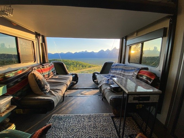inside of a toy hauler overlooking a valley